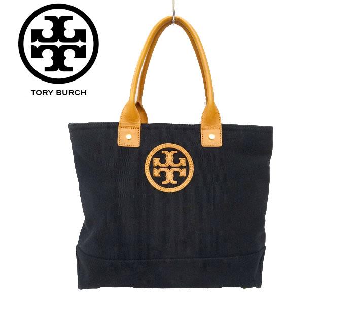 【TORY BURCH】トリーバーチ キャンバス × レザー トートバッグ ロゴ 内側花柄 ブラック 黒 【中古】FF2345