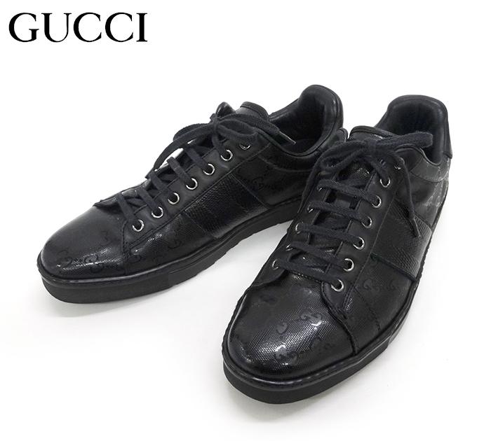 【GUCCI】グッチ 227988 GGインプリメスニーカー メンズ 黒 ブラック サイズ41 E 【中古】FB0942