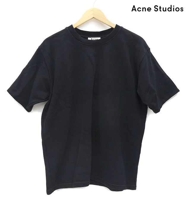 【ACNE STUDIOS】アクネストゥディオズ 半袖スウェット 18SS 黒 サイズXS オーバーサイズ 綿100% コットン メンズ 180/92A FIGARI PSS18 2HK176- 【中古】