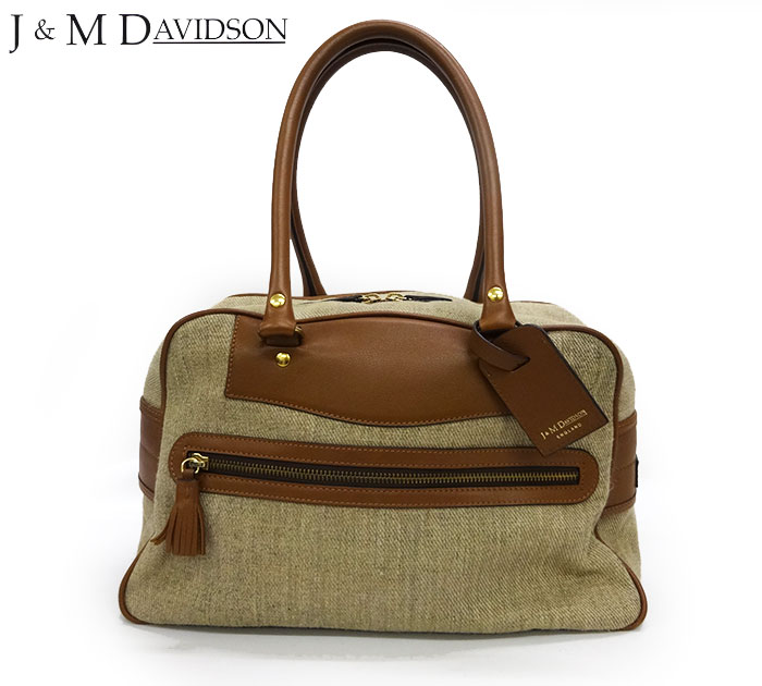 【J&M Davidson】ジェイ&エム デヴィッドソン NEW VIVI ハンドバッグ ボストンバッグ リネン混 カーフ ベージュ×ブラウン 【中古】FF2453