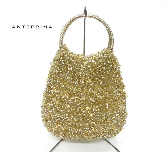 【ANTEPRIMA】アンテプリマ ビーズ スパンコール ワイヤーバッグ ハンドバッグ ラウンド ゴールド系 美品【中古】FF0261