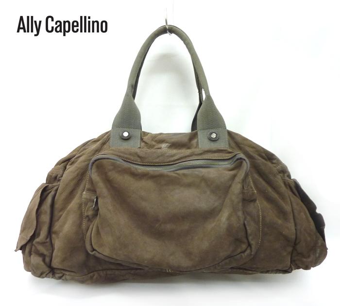 【ALLY CAPELLINO】アリーカペリーノ オールレザー メンズ ボストンバッグ ブラウン 茶【中古】FF0284