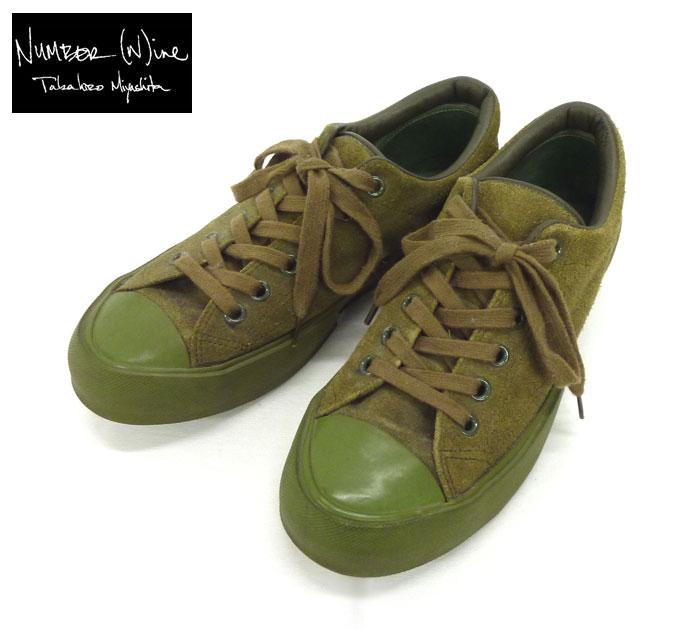 【NUMBER(N)INE】ナンバーナイン スエードスニーカー サイズ7 約26cm グリーン系 カーキ系 NUMBER NINE 靴 シューズ スニーカー コンバース型FB0280