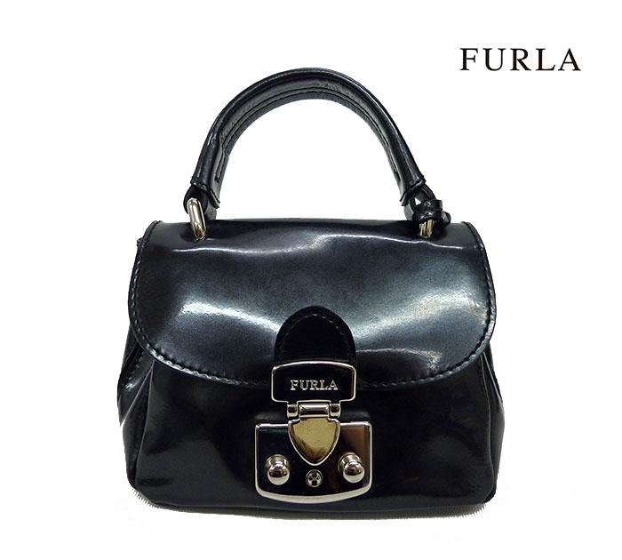 【FURLA】フルラエナメル ミニショルダーバッグ ハンドバッグ 2wayバッグ ブラック 美品【中古】FF0431