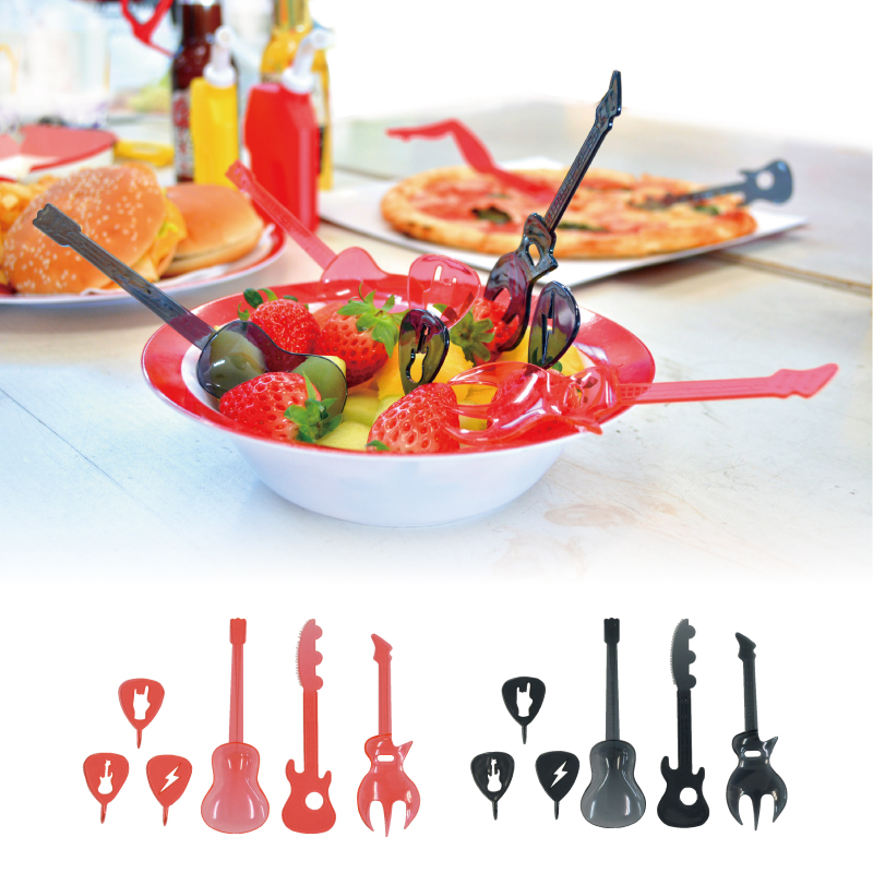 食卓をオシャレに楽しく 可愛いギターのカトラリーセット 数量は多 funfun ギター カトラリー セット 割り引き スプーン おしゃれ フォークセット パーティーグッズ ピクニック アメリカン雑貨ユーカンパニー 食器 花見