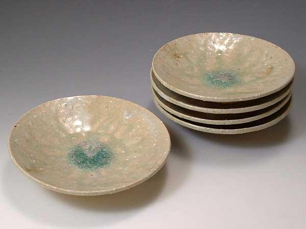 京焼・清水焼 皿 PYH340 灰釉鉄彩掛分 五寸皿揃 5枚【送料無料】
