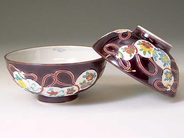 京焼・清水焼 組飯碗 LCM338 紫交趾六瓢