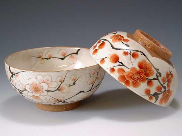 京焼・清水焼 組飯碗 トウア043 紅白梅