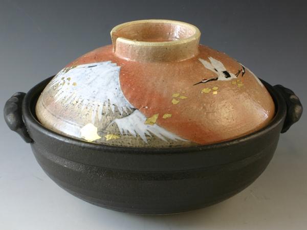 京焼・清水焼 土鍋 NZK102-01 金彩富士 八号鍋 IH・カーボン式