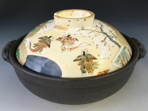 京焼・清水焼 土鍋 NZG080-01 源氏物語 九号鍋IH・カーボン式
