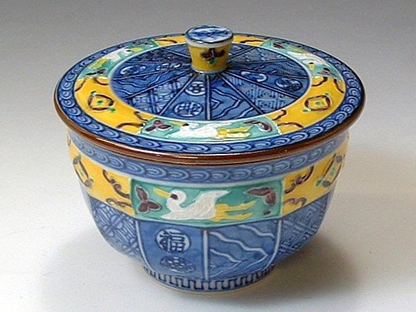 京焼・清水焼 お茶呑茶碗 QSY354 翔宝古紋 蓋付 5客セット