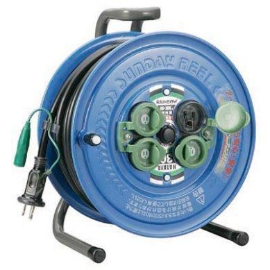 アース付 ハタヤ 30m コードリール 防雨型 電工ドラム SG-30K