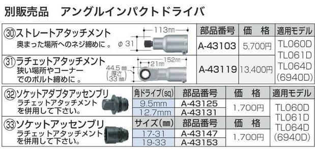 マキタ アングルインパクトドライバ用 ラチェットアタッチメント A-43119 別販売品 TL060D TL061D TL064D 6940D