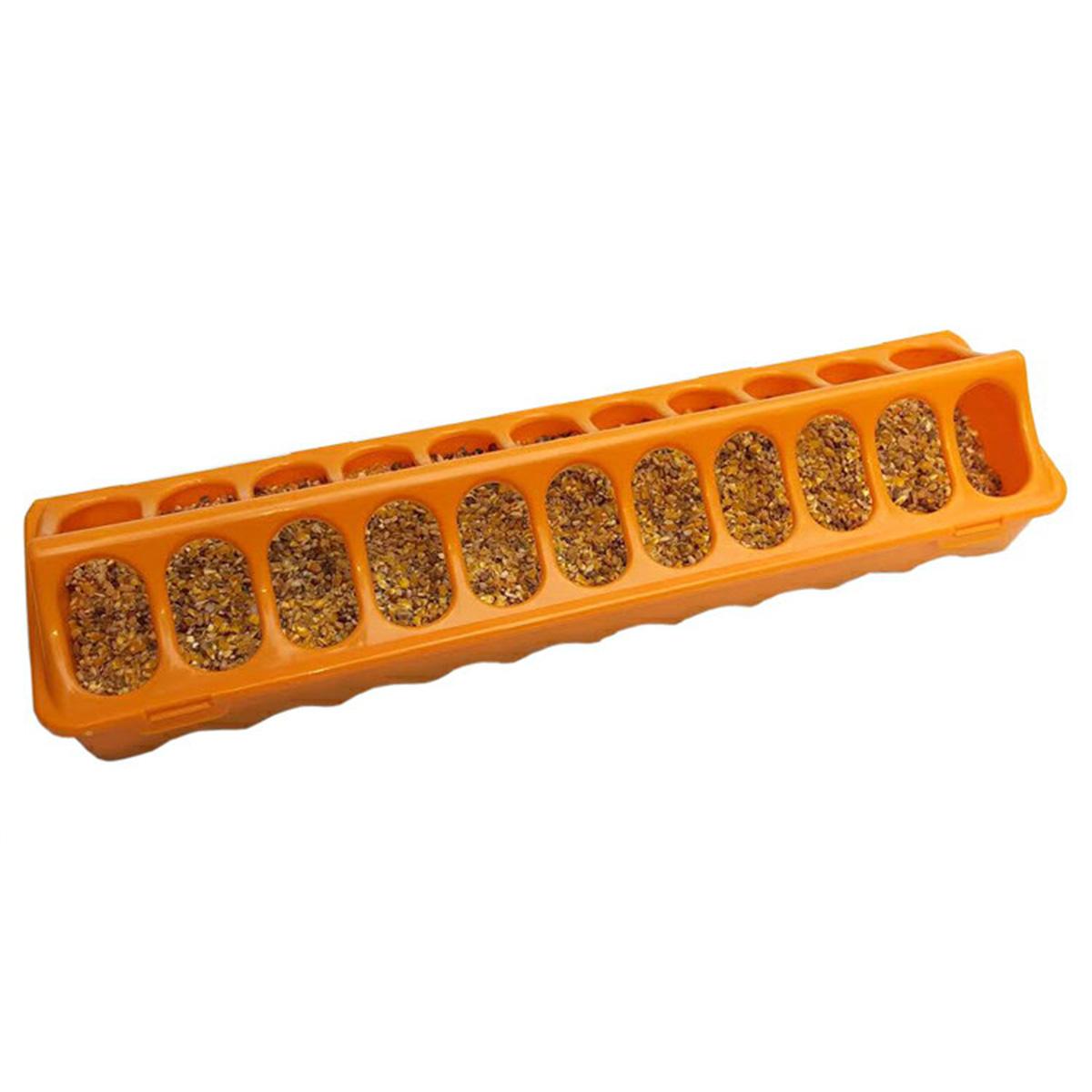 餌が散らかりづらいカバー付き 【給餌器】鳥用 40cm横長給餌器オレンジ【エサ入れ】