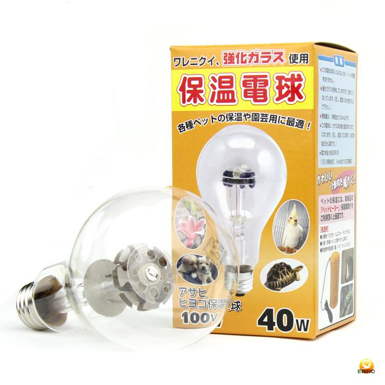 眩しくないのでペットも安眠 アサヒ 全国どこでも送料無料 ヒヨコ保温電球 40W 流行 硬質ガラス
