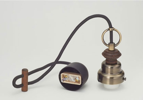 GLF コード小口ホルダー吊具 丸環・木製飾り付 真鍮ブロンズ鍍金 GLF-0283BR