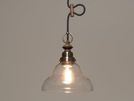 GLF ペンダント照明器具 ジェミニ (透明ベルリヤ・CP型BR) 真鍮ブロンズ鍍金 LEDスワンバルブ エジスワン×1個付 調光対応 GLF-3521BR