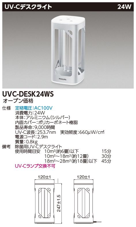 フィリップス 除菌用UV-Cデスクライト 新作続 UVCライティング UVC-DESK24WS 新作通販