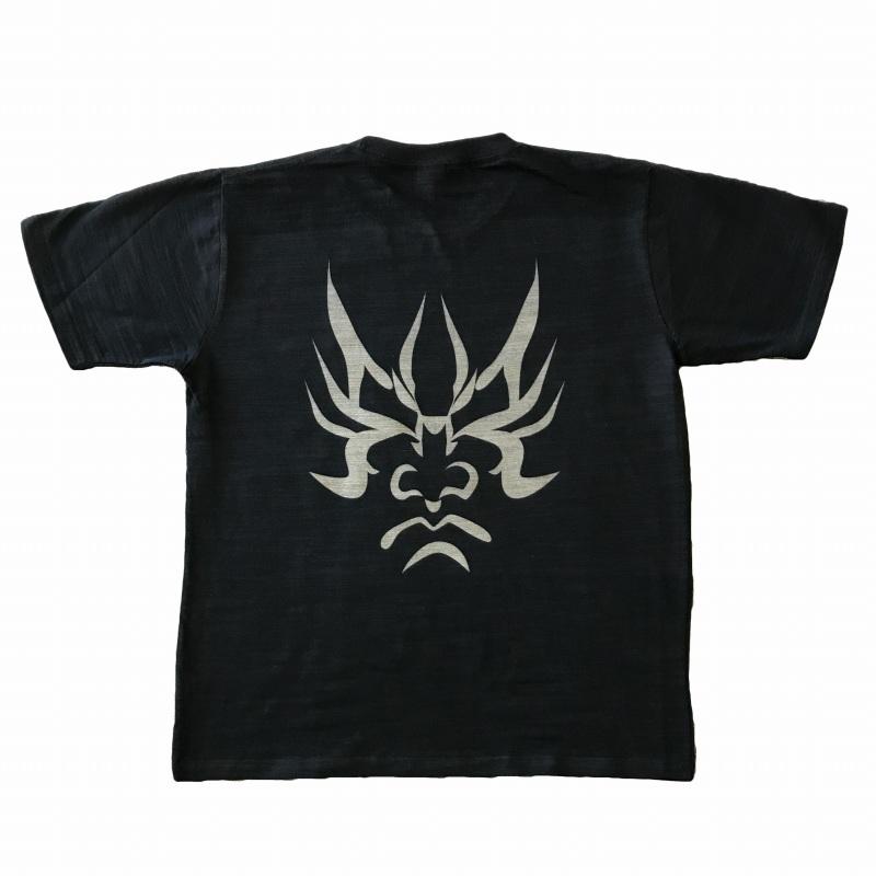 5☆好評 スラブ生地メンズTシャツ オリジナル柄です 人気海外一番 メンズTシャツ 隈取 味のあるスラブ生地に和柄を抜染しました 黒