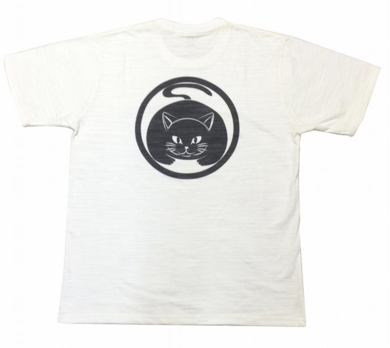 スラブ生地メンズTシャツ オリジナル柄です 新品 ブランド品 メンズスラブTシャツ 白 真向き猫