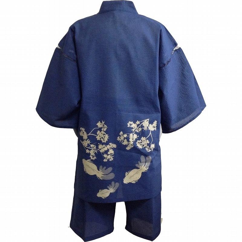 【当店オリジナル柄】日本製 しじら織り甚平 (5003小あじろ織紺 金魚)