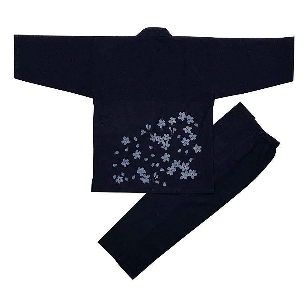 [江戸てん] 作務衣 抜染柄入り 久留米紬織り 日本製 高級 素材からこだわりました つむぎ メンズ 腰に桜 紺