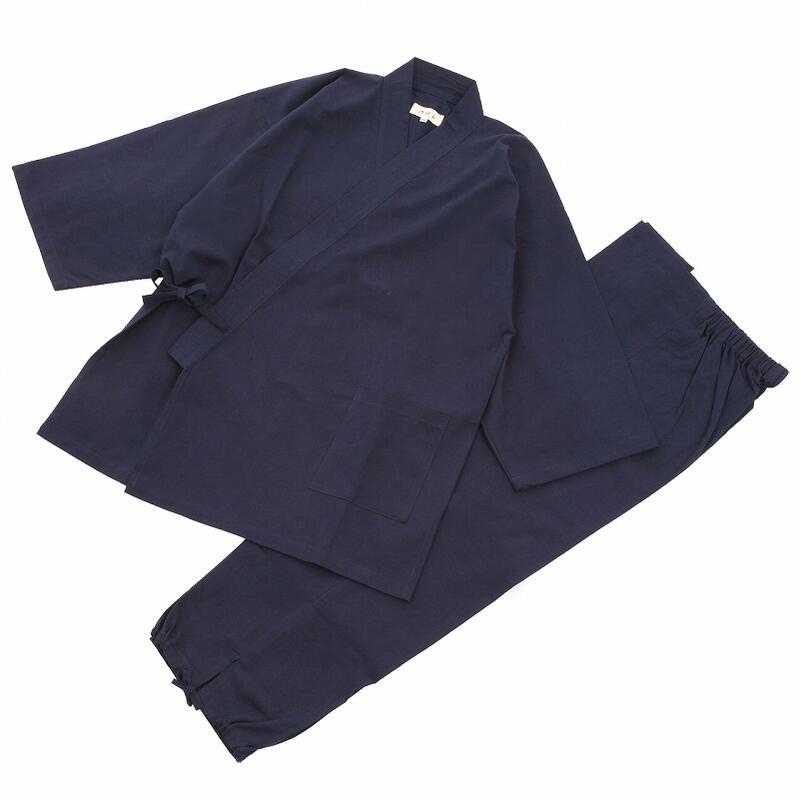『日本製!』素材からこだわった 高級紬織作務衣(つむぎおりさむえ)紺 綿100% 大きいサイズ 3L 4L