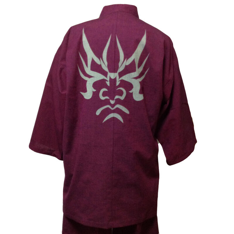 【当店オリジナル柄】日本製高級紬織り作務衣 隈取 エンジ