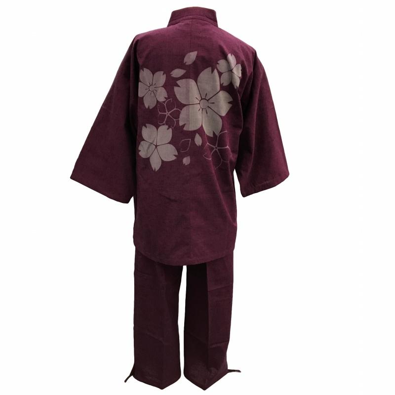 【当店オリジナル柄】日本製高級紬織り作務衣 桜大 エンジ