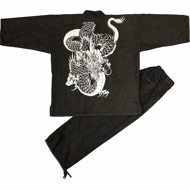 デニム作務衣に捺染柄をお入れしました かっこいい一枚です 売れ筋 超激安 江戸てん 作務衣 デニム生地 綿100% しっかりしているのに柔らかい 黒 にらみ龍 さむえ 柄入り 通年 メンズ