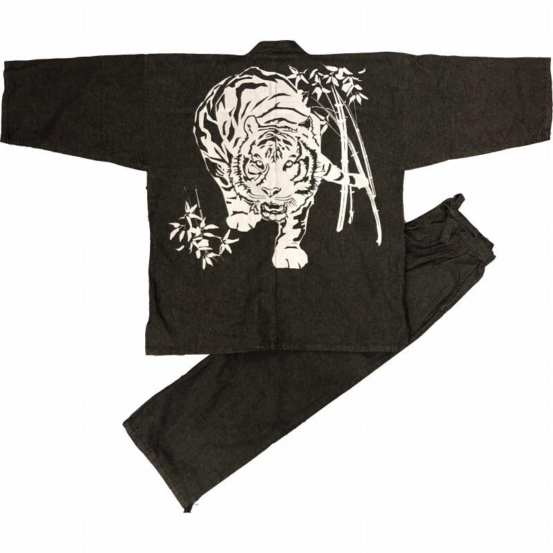 デニム作務衣に捺染柄をお入れしました かっこいい一枚です 江戸てん 作務衣 デニム生地 綿100% しっかりしているのに柔らかい 柄入り 再入荷/予約販売! さむえ 通年 黒 メンズ 虎 WEB限定