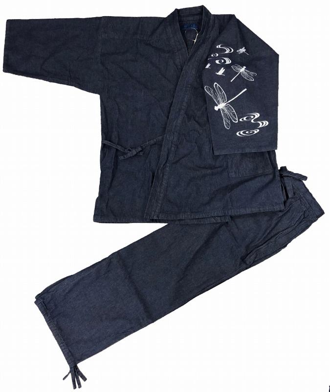 デニム作務衣に捺染柄をお入れしました かっこいい一枚です 江戸てん 作務衣 デニム生地 綿100% しっかりしているのに柔らかい 買取 さむえ 勝虫 メンズ 左袖 柄入り 紺 ご注文で当日配送 通年 トンボ