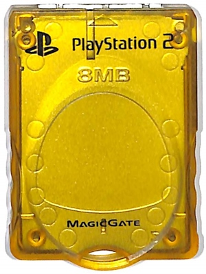 PS2 本物 メモリーカード 8MB MAJICGATE 中古 上品 クリアイエロー プレステ2 KOTOBUKI製