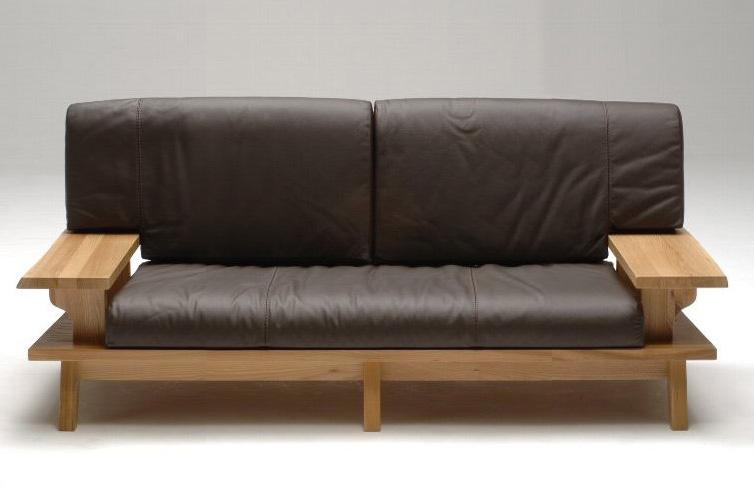 古彩ナチュラル本革 木目を生かした2Pラブソファ 肘付き椅子 ワイドクッション ニレ材 天然木無垢 ロータイプ 自然素材 カントリーシンプル 送料無料 送料無料 完成品 オイル仕上げ 木製