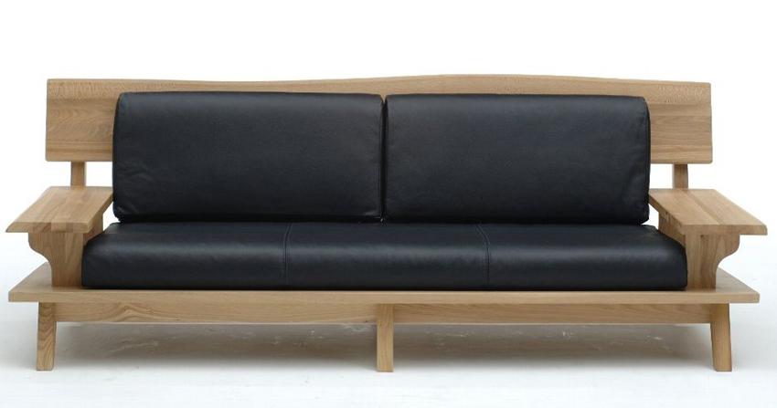 古彩ナチュラル本革 木目を生かした3Pトリプルソファ 肘付き椅子 ニレ材 天然木無垢 ロータイプ 自然素材 カントリーシンプル 送料無料 完成品 オイル仕上げ 木製