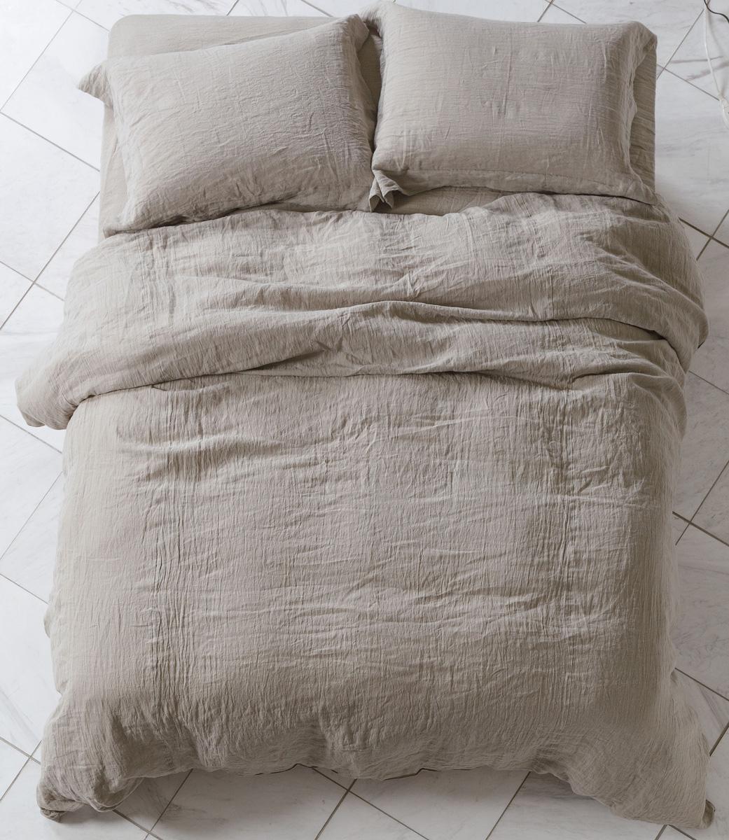 ドリームベッド グランリネン ダブル ベッドシーツセット掛け布団カバー マットシーツ GL-607 カーキ 麻 コンフォーターケース・ピローケース・ボックスシーツセット 日本製寝装品 送料無料