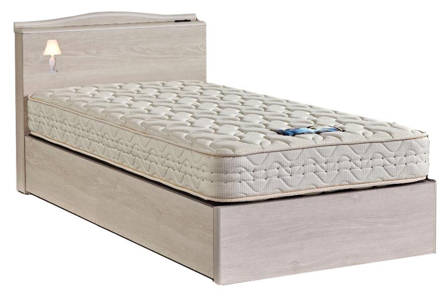 ドリームベッド フェミスティ2603 クイーン1・ワイドダブル 棚付き・照明コンセント ノーマルタイプ 箱型 ホワイトオーク色 アンティークかわいい 送料無料 日本製 フレームのみ