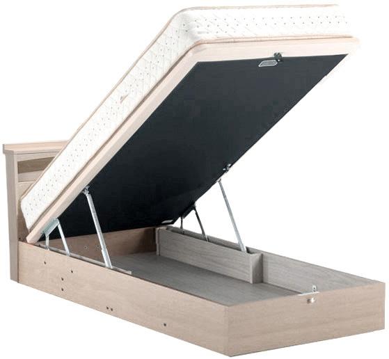 ドリームベッド フェミスティ2601 シングル 照明・棚付き dreambed リフトアップ 縦型収納 大収納 跳ね上げ式ガスダンパーハッチ 大量整理 省スペース 収納ボックス ベッド下収納 ホワイトオーク色 アンティークかわいい  日本製家具 マットレス付き