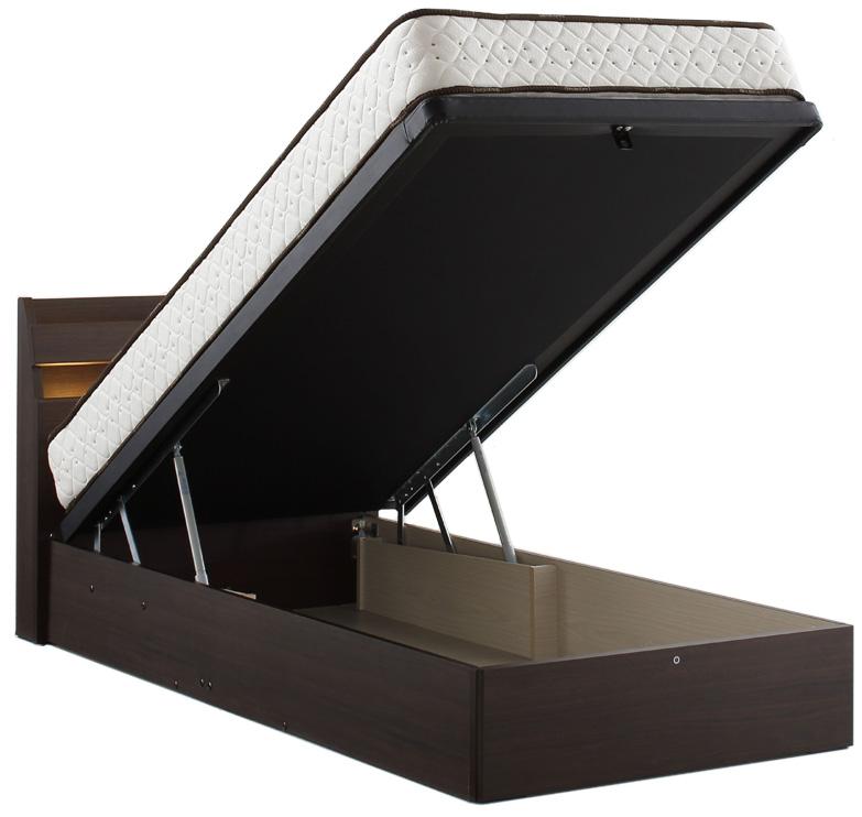 ドリームベッド ウレルディ2755 シングル フラット 縦型収納・dreambed リフトアップ 縦型収納 大収納 跳ね上げ式ガスダンパーハッチ 大量整理 省スペース 収納ボックス ベッド下収納 日本製 送料無料 ダーク ミディアムウォールナット フレームのみ