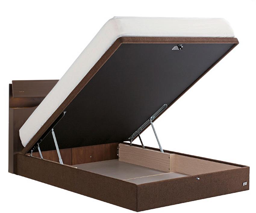 サータ ホテルスタイル599 ダブル 棚付き 照明 コンセント 縦型収納・ドリームベッド リフトアップ 縦型収納 大収納 跳ね上げ式ガスダンパーハッチ 大量整理 省スペース 収納ボックス ベッド下収納 日本製 送料無料 ブラウン フレームのみ