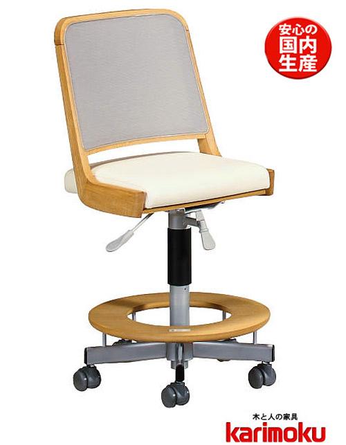 カリモクXT2103 デスクチェア 子供用椅子 オフィスチェア回転いす キャスター付き 回転ストッパー付き 合成皮革レザー 送料無料 日本製家具 正規取扱店 木製