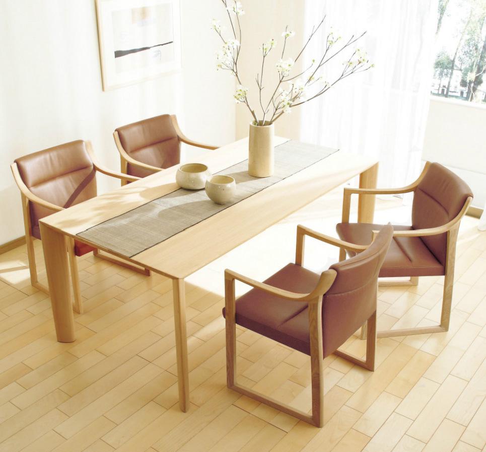 カリモクWU5300 DU6200 食堂椅子 食卓テーブル ダイニング5点セット 合成皮革・布張り 肘付椅子 食卓セット 丸みを帯びた リクライニング肘付き 送料無料 日本製