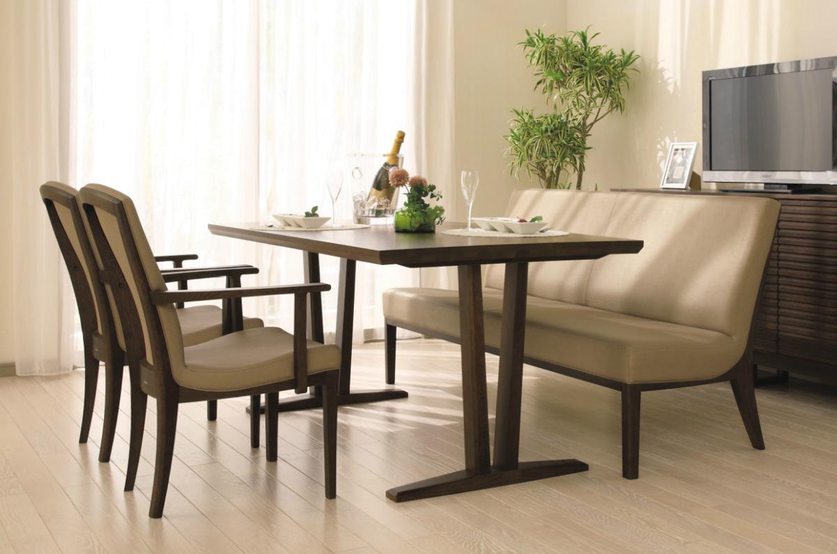 カリモクCT7900 DU8401 165サイズ ベンチソファダイニング5点セット 食堂テーブル 食卓モダンセット ナチュラル調 肘付き食堂椅子 合皮革・布張り 送料無料 日本製