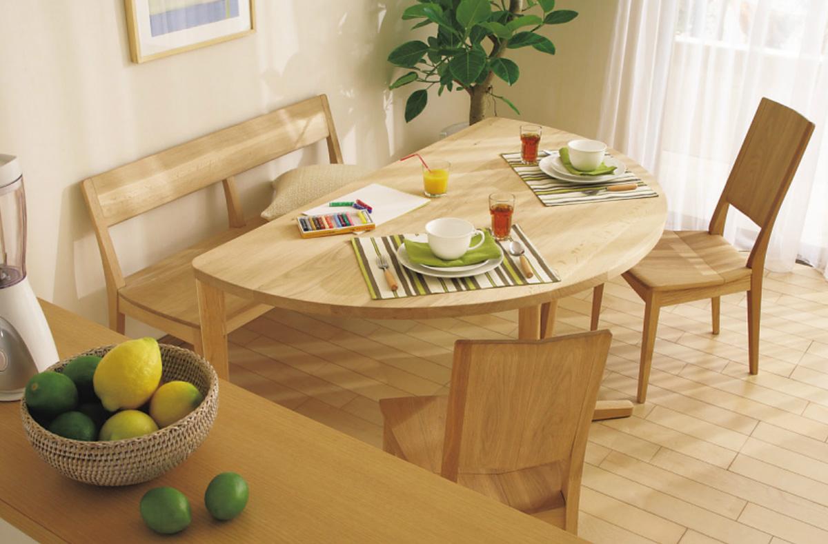 カリモクCU474 CU48 150サイズダイニング4点セット 食堂半円テーブル 食卓ハーフ ベンチ 肘なしチェア 椅子 シンプルナチュラル 送料無料 日本製家具 正規取扱店