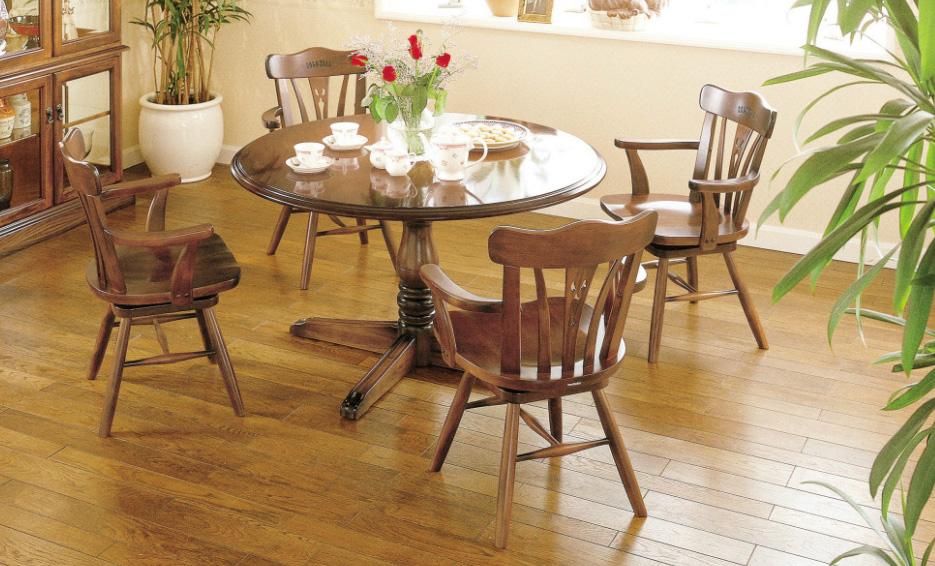 カリモクCC18 コロニアルシリーズ 120サイズ円形ダイニング5点セット 食堂テーブル 回転式肘付き食堂椅子 食卓和風モダンセット 円卓 カントリー調 コンパクト 送料無料 日本製