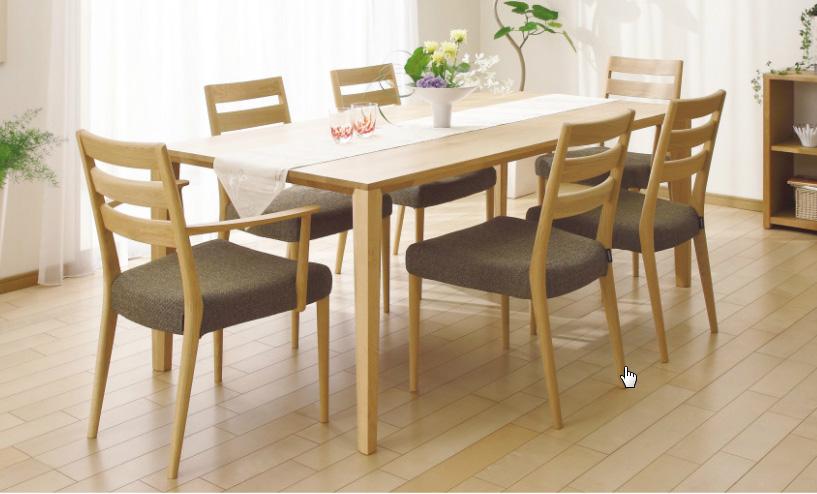 カリモクCT6110 ダイニング7点セット 食堂椅子 食卓椅子 ダイニングチェア 合成皮革・布張り 肘付椅子 送料無料 日本製家具 正規取扱店 木製