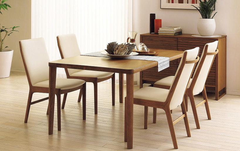 カリモク CU4135 DU5320 150サイズダイニング5点セット 食堂テーブル 食卓モダンセット ナチュラル調 合成皮革・布張り選べるカラー 送料無料 karimoku 日本製