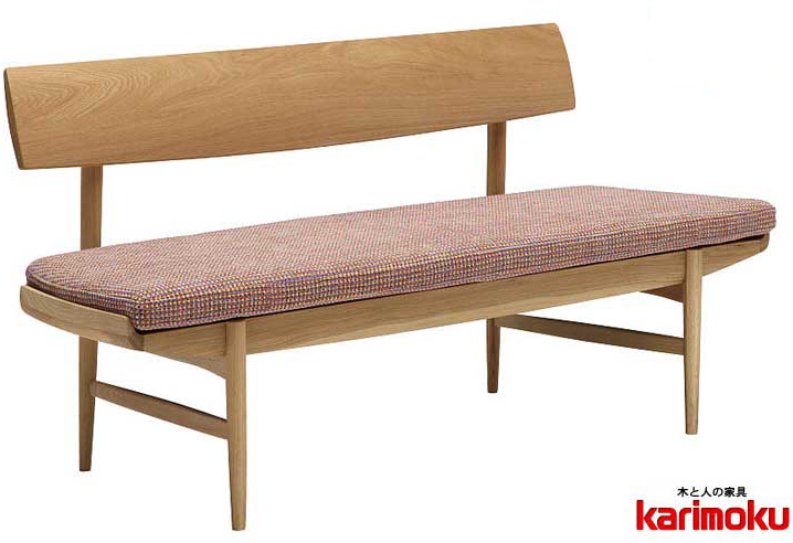 カリモク CU7203 150ベンチ 三人掛け食堂椅子 食卓椅子 ダイニングチェア カバーリング 背もたれ 合成皮革・布張り 選べるカラー ナチュラル 送料無料 karimoku 日本製家具 正規取扱店 木製 ブナ 単品 バラ売り