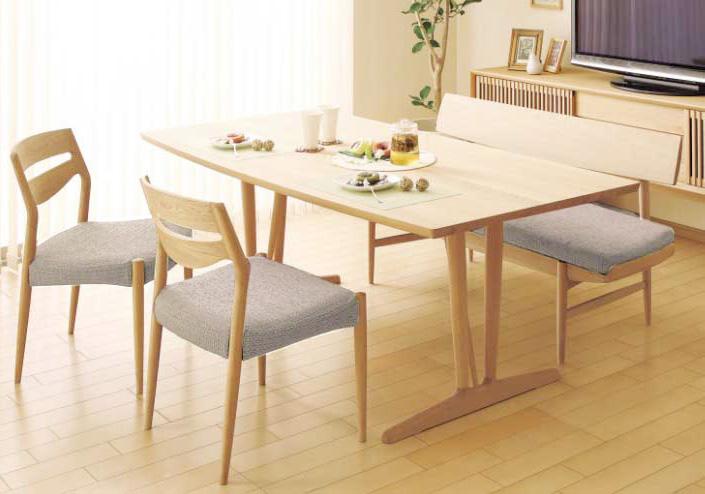 カリモク CU7105 CU7203 DU6332 食堂椅子 食卓テーブル ダイニング4点セット 合成皮革・布張り 選べるカラー 肘無し椅子 食卓セット ベンチシート 背もたれ付き 送料無料 karimoku 日本製