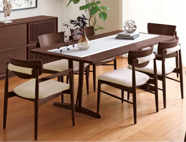 カリモク CW7500 CW7505 DU6330 食堂椅子 肘付き椅子 食卓テーブル ダイニング7点セット 6人掛け 合成皮革・布張り 選べるカラー 食卓セット ナチュラル 背もたれ付き karimoku 日本製
